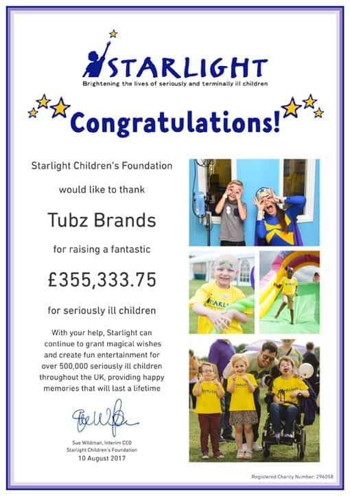 Tubz Brands Continue Their Support for 'Starlight Children's Foundation