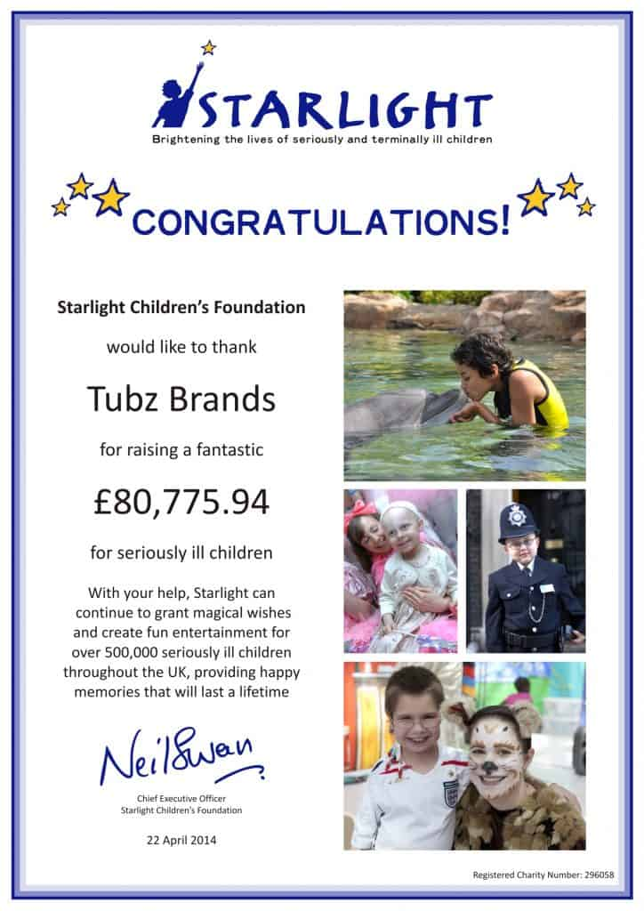 Tubz continue their charitable donations into 2014