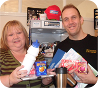 Pam Thornes, Fundraising Manager with the Laura Crane Trust and Nigel Hawkin, owner of Recognition Express - Wakefield