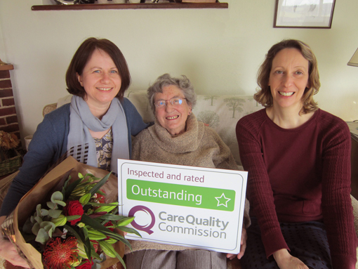 (Left to right) Care Manager Gill Tootill, client Patricia Walker and franchisee Claire Percy.